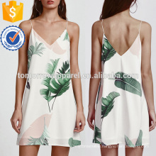 Palm Leaf Print Double V Neck Cami Dress Manufacture Wholesale Fashion Women Apparel (TA3167D)