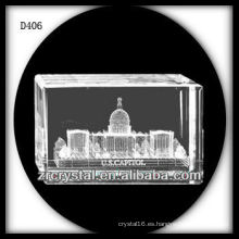 K9 3D Laser La Casa Blanca Dentro de Rectángulo de Cristal
