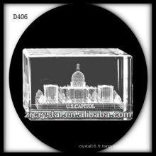 K9 3D Laser La maison blanche à l'intérieur du rectangle de cristal