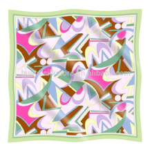 Seda impresa bufanda geométrica patrón de seda pura impresa bufanda