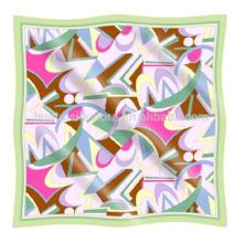 Echarpe imprimée en soie Echarpe imprimée en soie pure en géométrie