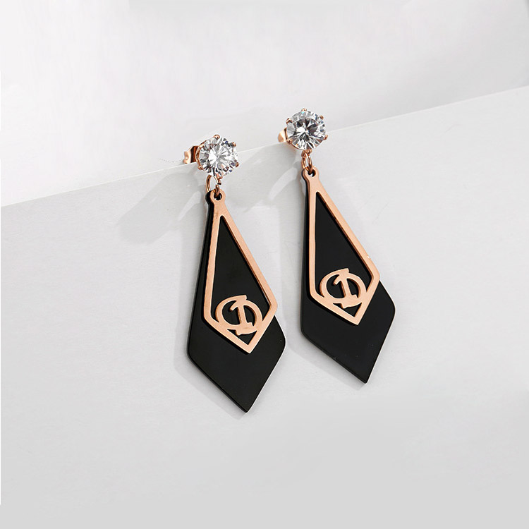 Rose Gold And Black Earrings