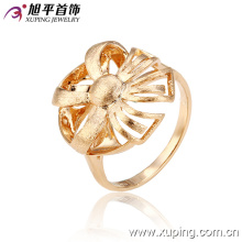 12927 New design fine ladies jewelry flower shaped simple design gold plated copper finger ring