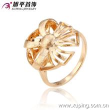 12927 novo design fino senhoras jóias flor em forma de design simples banhado a ouro anel de dedo de cobre