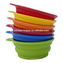 Promocionais resistentes ao calor estocado alimentos tigelas de silicone para cães descartável / cão alimentador Pet Bowl / colapsável Pet Dog Cat Bowl