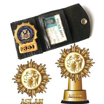 A polícia Badge com o ouro chapeou o emblema 3D (GZHY-BADGE-016)