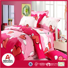 Flying red hearts colorful bedsheet set,75gsm 100% polyester king size bedsheet set,4 pcs high quality bedsheet set
