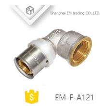 EM-F-A121 Kupfergleiche weibliche Ellenbogen Messing Nickel plattiert Kompressionsverschraubung