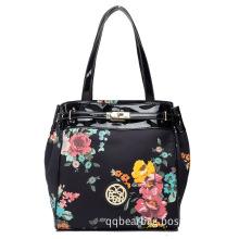 Fashionable Women Brand Cotton / PU Carry-on Single-Shoulder Handbag (FW7)
