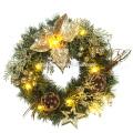 Decoración de vacaciones de plástico LED flor corona de Navidad