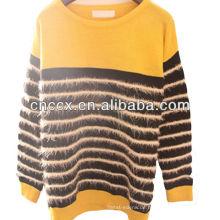 12STC0690 Damen Mohair schwarz gelb gestreiften Pullover