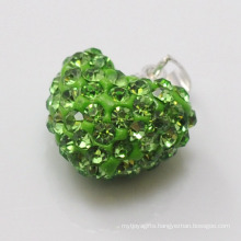 top quality Shamballa Pendant Wholesale Heart Shape New Arrival 15MM Green Crystal Clay Pendant For DIY Jewelry