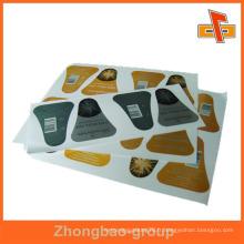 Guangzhou fournisseur grossiste d'impression et d'emballage finition brillante ou matte auto-adhésif autocollant étiquette métallique