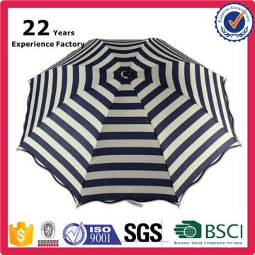Regalos promocionales de la moda que imprimen el paraguas comercial a prueba de lluvia rayado plegable nuevo de la marina de guerra del nuevo diseño al por mayor