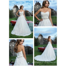2014 Sweetheart Court Train Tulle Made Ball Gown Wedding Dress With Lace Applique Beaded Sash Accent Garden Bridal Gown NB0646