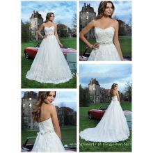 2014 Sweetheart Court Train Tulle Fez Vestido de Noiva com Vestido de Noiva com Lace Applique Beaded Sash Accent Garden nupcial Vestido NB0646