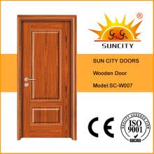 Puerta única de madera tallada clásica