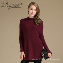 Long Sleeves Loose Cashmere Pure Wine Red Young Girls Knit Sweaters