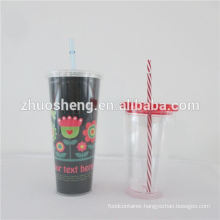 double wall plastic tumblers with straw 16oz