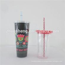 Двойная стенка пластиковые стаканы с соломенной 16 унций