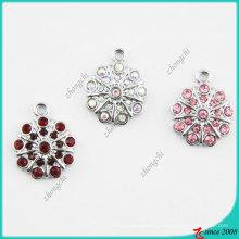Мода розовый кристаллы цветок Кулон для ожерелье (ПСН)