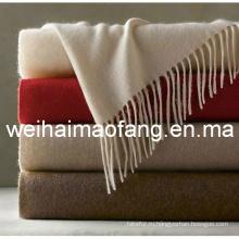 100% кашемир броска одеяло с бахрамой