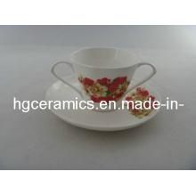 Double Handle Fine Bone China Mug with Saucer
