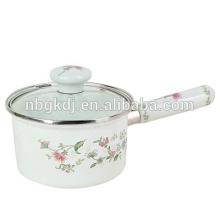 cute single handle pot &wooden handle