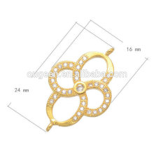 2016 hollow copper jewelry accessory fashion platinum colors loop cz micro pave connector
