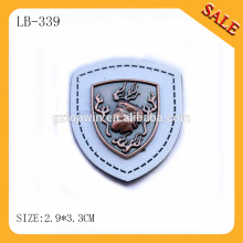 LB339 Mens fashion t-shirt tag & custom metal leather sewing tag & white color deboss logo PU leather sewing tag