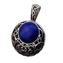 Lapis Lazuli 20MM Cabochon Alloy Gemstone Pendant