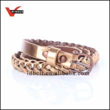 2014 New Popular Style Gold Ladies Braided Pu Belt
