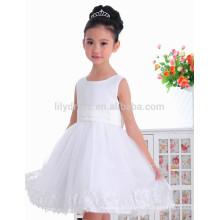 Custom A-Line joelho Comprimento vestido de flor branca Vestidos FGZ45 Vestidos para crianças