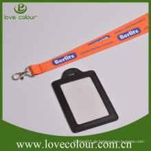 Custom Long Neck Strap Lanyard mit Business Leder ID Kartenhalter