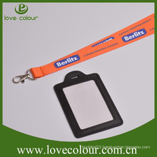 Custom Long Neck Strap Lanyard With Business Leather ID Card Holder