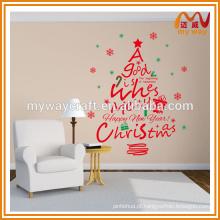 2016 feliz ano novo adesivo de parede, decoração de árvore de natal