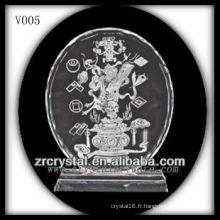 Disque en cristal K9 avec image de sablage