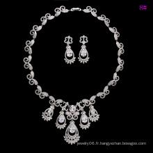 Ensemble de bijoux de luxe Rhodium CZ Diamond pour mariage (set-19)