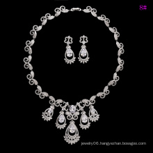 Fashion Luxury Rhodium CZ Diamond Jewelry Set for Wedding (set-19)