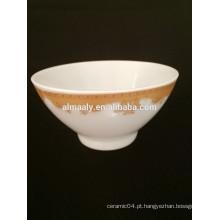 barato preço porcelana branca footed tigela com decalque