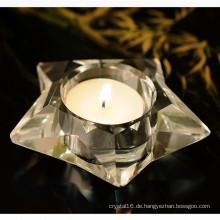 Fünf-Sterne-Form Kristall Glas Kerzenhalter Handwerk für Geschenk