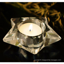 Five-Star Shape Crystal Glass Candleholder Craft for Gift