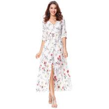 Kate Kasin Motif floral féminin à manches longues V-Neck Button Placket Sexy Split Maxi Dress KK000652-2