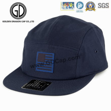 2016 Wholesale Dark Blue Snapback Camper Cap with Woven Label