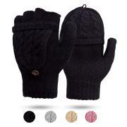 Digitek Women's Fingerless Mittens Winter Warm Gloves