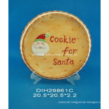Hand-Painted Ceramic Round Plate with Santa Design