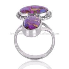 Kreativer Entwurfs-natürlicher purpurroter kupferner Türkis-Edelstein 925 Sterlingsilber-Ring-Großhandelsschmucksachen