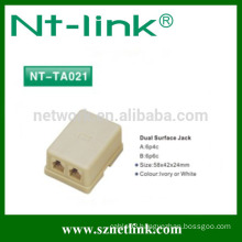 Shenzhen netlink telephone adaptor 6p4c Dual Surface Jack