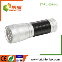 Factory Bulk Sale Pocket Size 3*AAA Dry Battery Powered Best Metal 14 led Cheap Torch with Plastic Rubber Grip