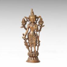 Estatua de Buda Avalokitesvara / Tara Verde Escultura de Bronce Tpfx-075